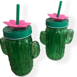 🌵NEW! SET OF 2 CACTUS GLASS SIPPERS